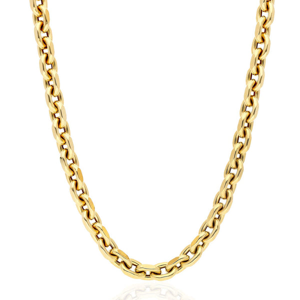 "14K Yellow Gold 7.5mm Diamond Cut Cable Link Chain Necklace 22"" 24"" 26"""