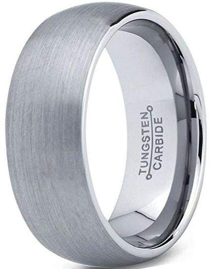 CERTIFIED 8mm Tungsten Carbide Inner Polished Ring Wedding Promise Band