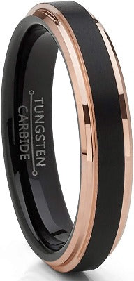 4mm  Tungsten Carbide Black Brushed Wedding Band Rose Goldtone Ring