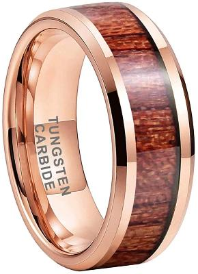 CERTIFIED 8mm Rose Gold Tungsten Rings Wedding Bands Natural Koa Wood Inlay