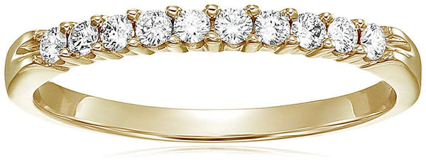 CERTIFIED 1/3 cttw Diamond Wedding Band in 14K Gold 10 Stone Prong Set