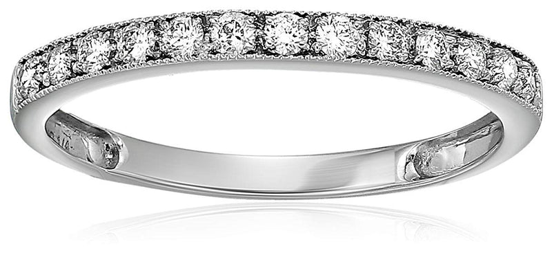 AGS Certified 1/4 cttw I1-I2 14K Milgrain Diamond Wedding Band I-J Color