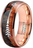 CERTIFIED 6mm Rose Gold Tungsten Rings Men Women Wedding Bands Koa Wood Arrow Abalone Shell Inlay