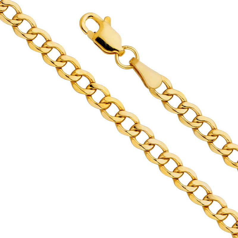 reamra CERTIFIED TWJC 14k Yellow Gold Hollow Men's 4.5mm Cuban Curb Chain Necklace with Lobster Claw Clasp
