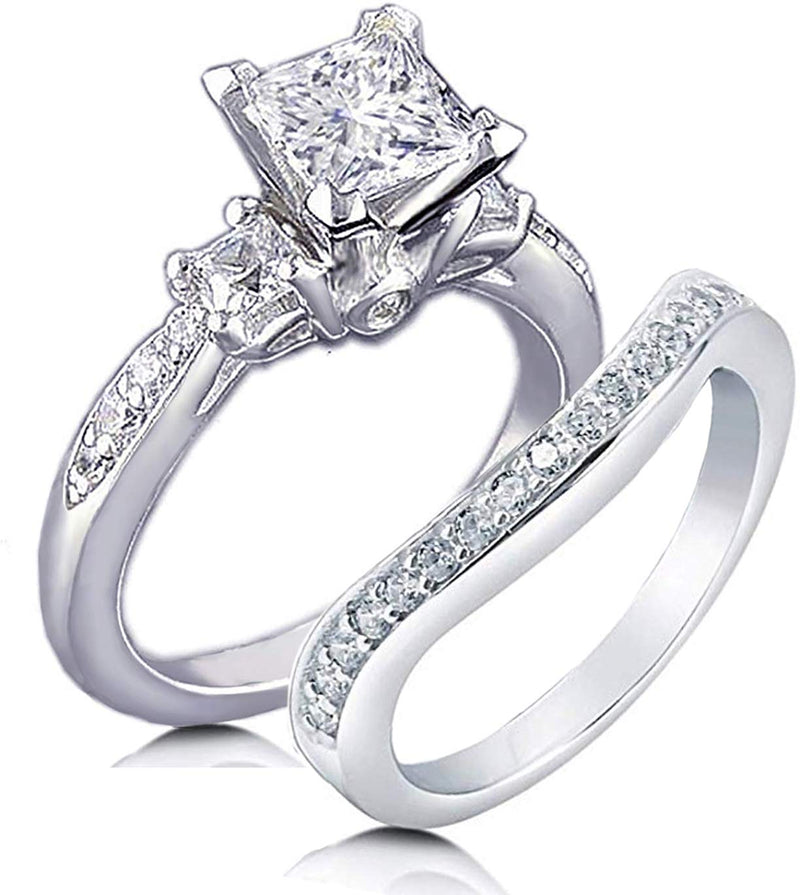 Princess Cut Simulated Diamond 3-Stones Ring Curved Band 2 Pcs Set 925 Sterling Silver