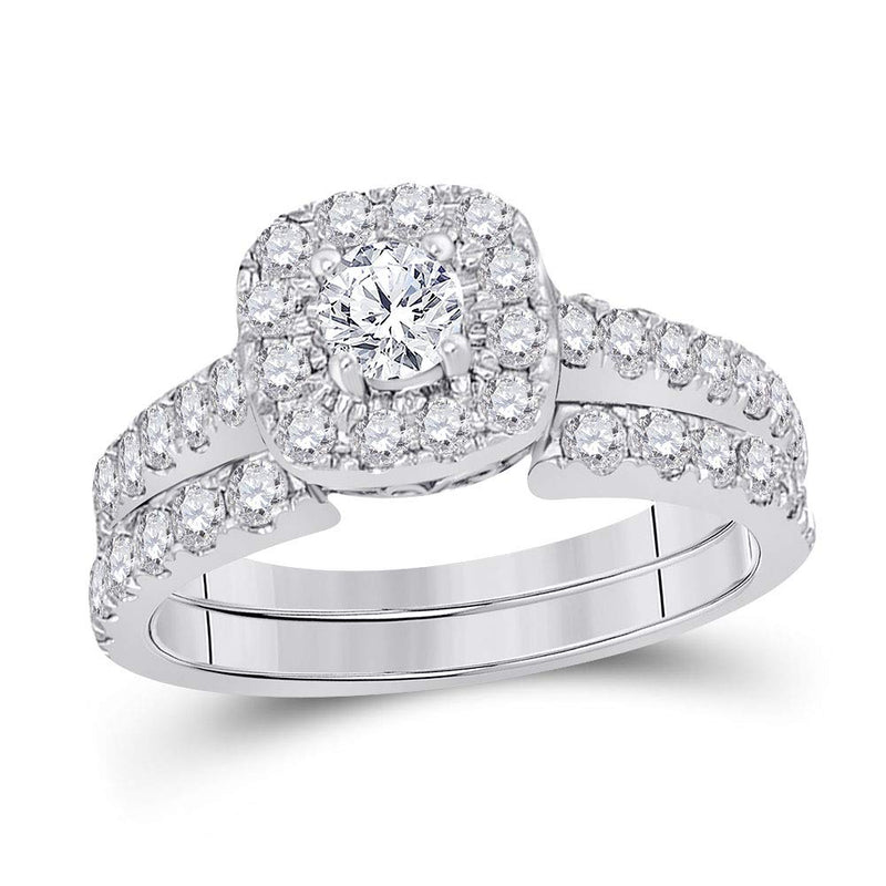 Certified 1 3/8 Cttw 14K White Gold Womens Round Diamond Bridal Wedding Engagement Ring Band Set