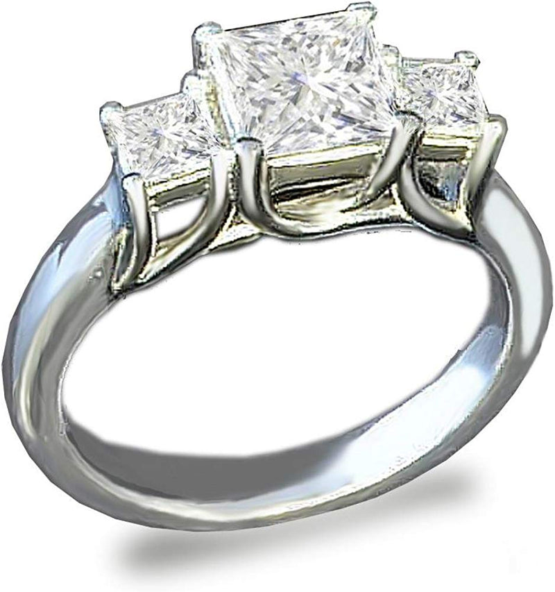 CERTIFIED 3-Stones Princess Cut Simulated Diamond Ring 925 Silver cz Cubic Zirconia