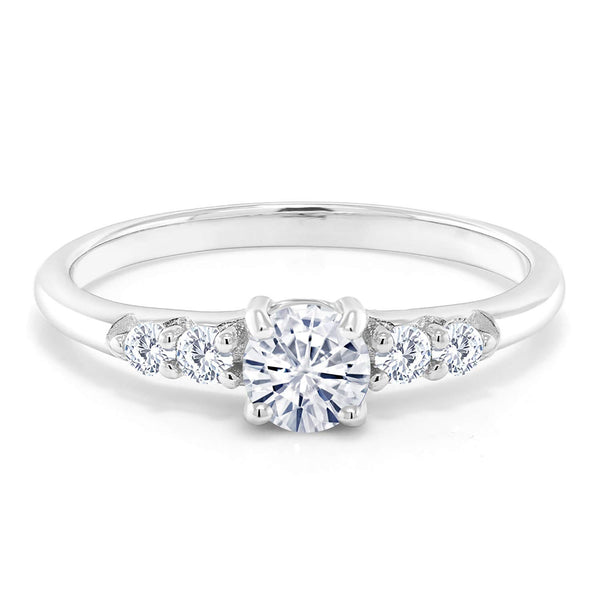 CERTIFIED 0.50ct 925 Sterling Silver Solitaire w/Accent Stones Classic Created Moissanite