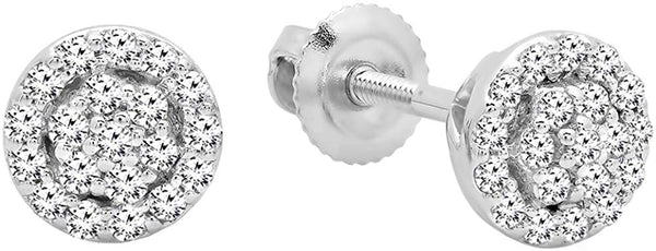 AGS CERTIFIED 0.25 Carat (ctw) 10K Round Diamond Ladies Circle Cluster Stud Earrings, White Gold