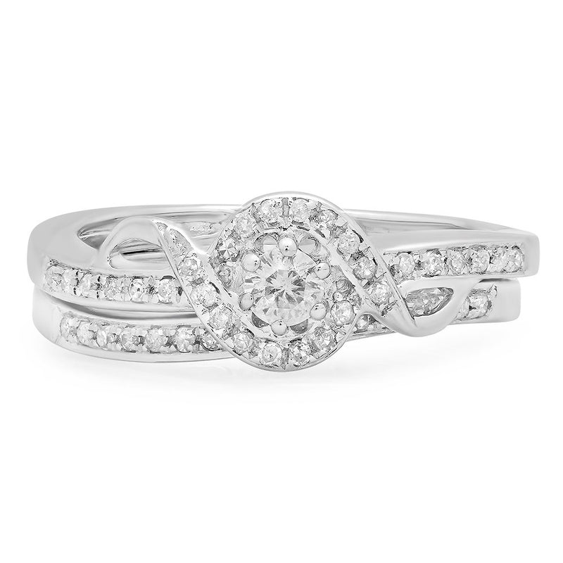 CERTIFIED   0.25 Carat (ctw) Round Diamond Ladies Bridal Promise Ring Set Matching Band 1/4 CT, Sterling Silver