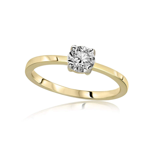 IGI Certified 1/2 cttw Diamond Solitaire Ring I2-HI Quality 10K Gold Diamond