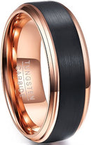 CERTIFIED 8mm Tungsten Wedding Band Ring 18k Rose Gold & Black Brushed