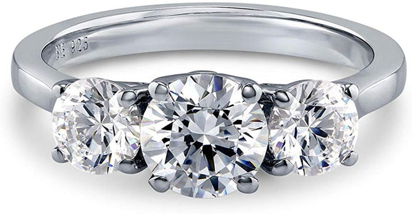 CERTIFIED 1.92 CTW Sterling Silver 3-Stone Anniversary Engagement with Swarovski Zirconia