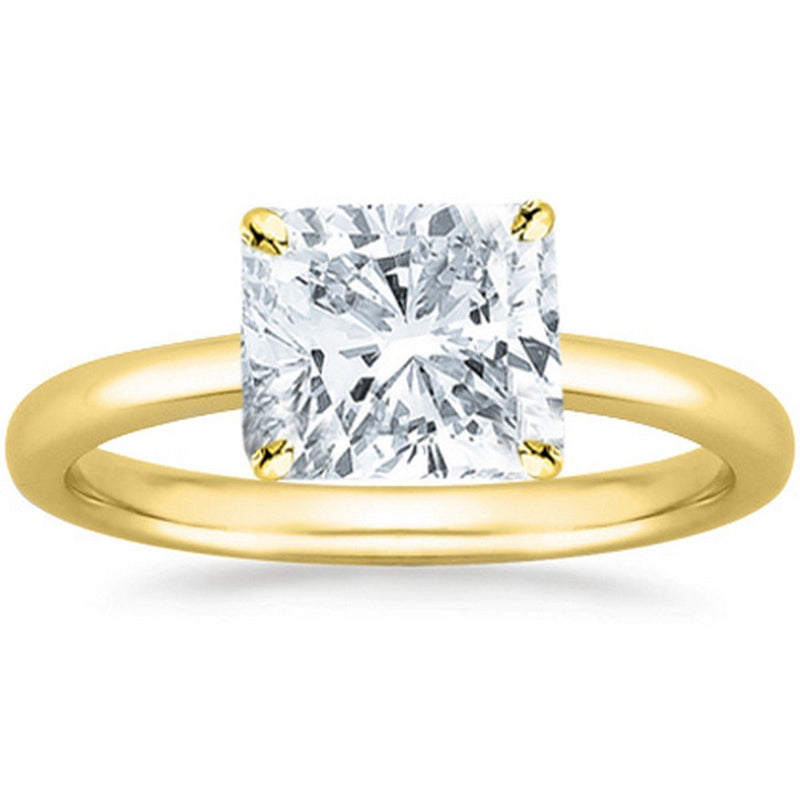 3 Ct GIA Certified Cushion Modified Cut Solitaire Diamond Engagement Ring 14K White Gold (H Color VS2 Clarity)
