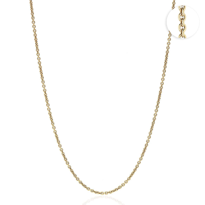 "Solid 18K Yellow Gold 1.5mm Cable Link Chain Necklace 16"" 18"" 20"" 22"" 24"""