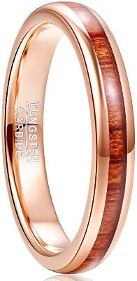 CERTIFIED 4mm Rose Gold Tungsten Carbide Ring Hawaiian Koa Wood Inlay