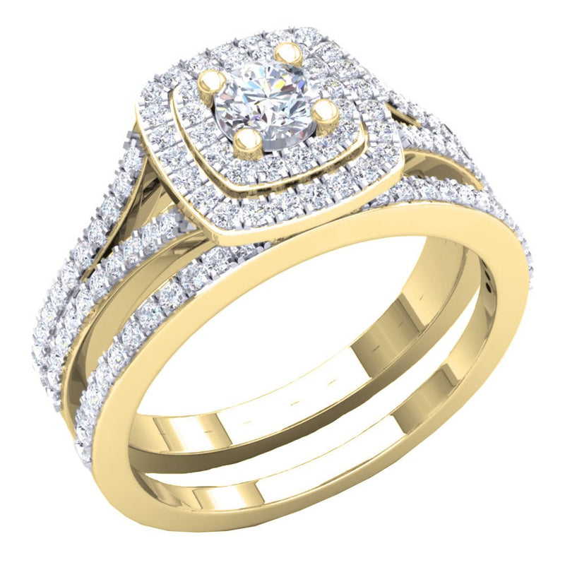 CERTIFIED   1.50 Carat (ctw) 10K Gold Round Cubic Zirconia Ladies Halo Style Engagement Ring Set 1 1/2 CT
