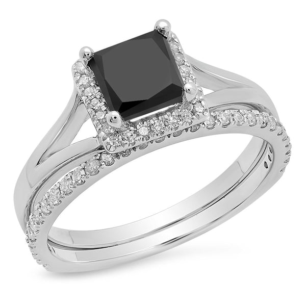 CERTIFIED   1.80 Carat (ctw) 10K Gold Princess Black & Round White Diamond Bridal Halo Engagement Ring