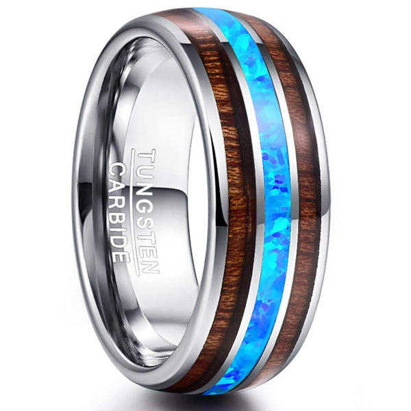 CERTIFIED Hawaiian Koa Wood Blue Opal Inlay Tungsten Carbide Ring Wedding Band