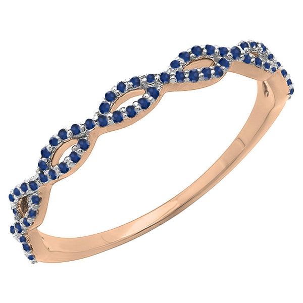 CERTIFIED   10K Gold Round Blue Sapphire Ladies Swirl Anniversary Wedding Band Stackable Ring