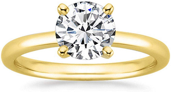 14K Yellow Gold Solitaire Diamond Engagement Ring Round Brilliant Cut (E Color VS2 Clarity 0.3 ctw)