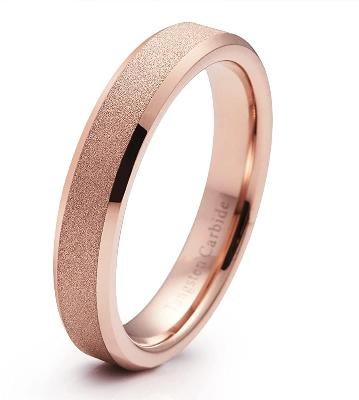 CERTIFIED 4mm Tungsten Carbide Wedding Band Rose Gold  Engagement Ring Beveled Edge