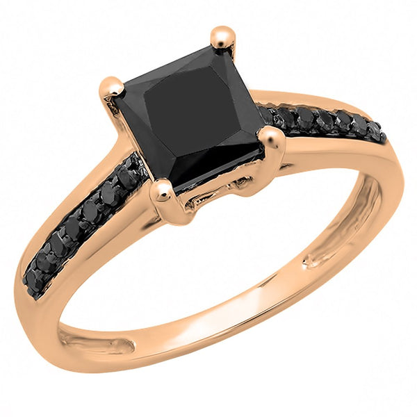 CERTIFIED   1.60 Carat (ctw) 14K Gold Princess & Round Black Diamond Bridal Engagement Ring