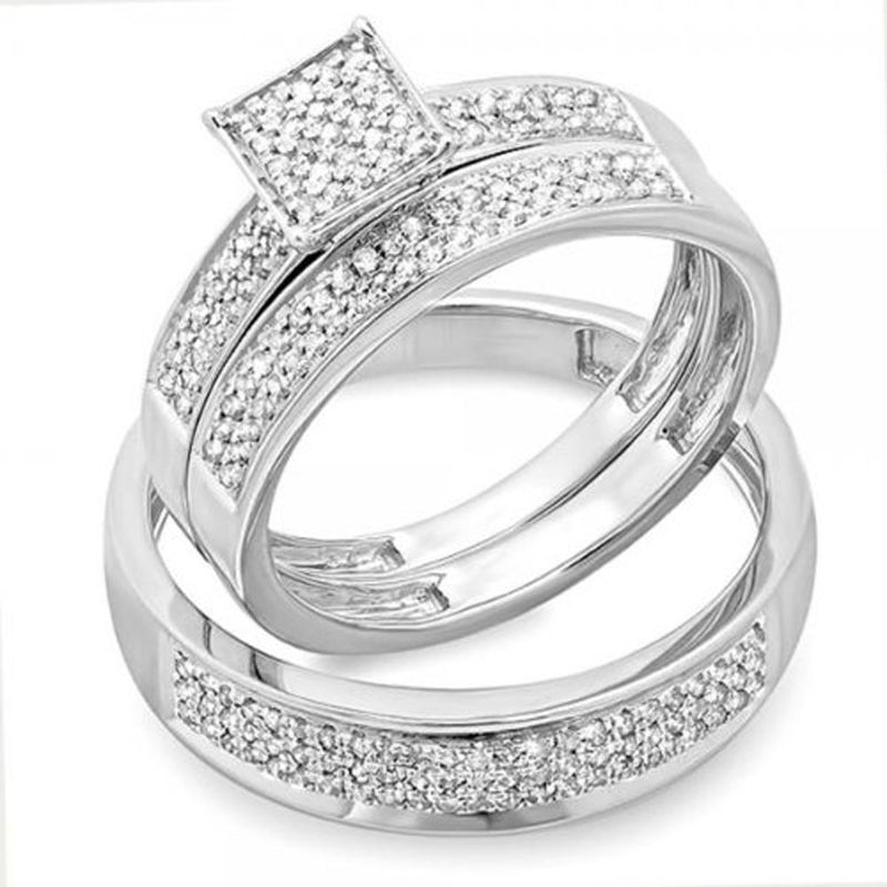 CERTIFIED   0.55 Carat (ctw) Round White Diamond Men's & Women's Micro Pave Engagement Ring Trio Bridal Set