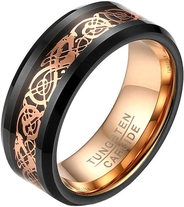 8mm Black/Rose Gold Celtic Dragon Tungsten Carbide Ring Inlay