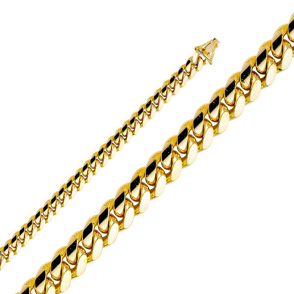 CERTIFIED TWJC 14k Yellow Gold Solid Men's 8mm Miami Cuban Curb Chain Necklace
