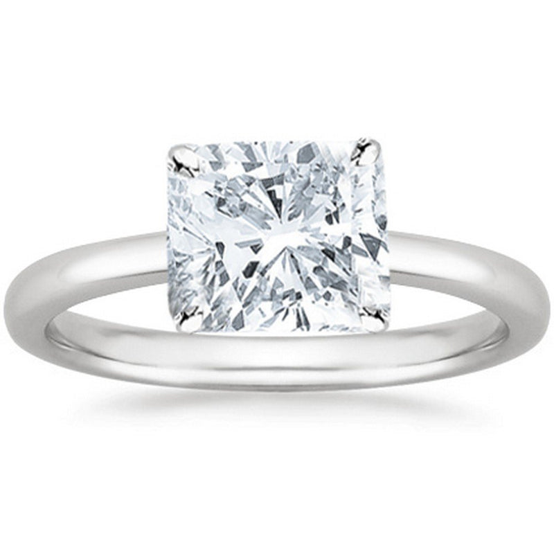 3/4 Ct GIA Certified Cushion Modified Cut Solitaire Diamond Engagement Ring 14K White Gold (J Color SI2 Clarity)