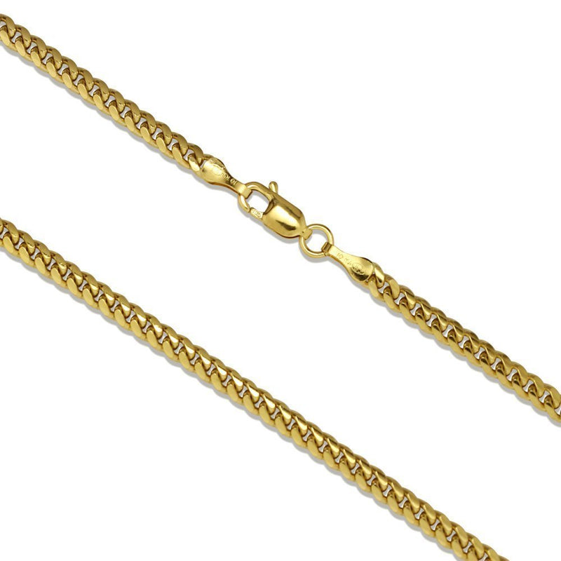CERTIFIED 4mm 10K Yellow Gold Miami Cuban Curb Link Chain Necklace