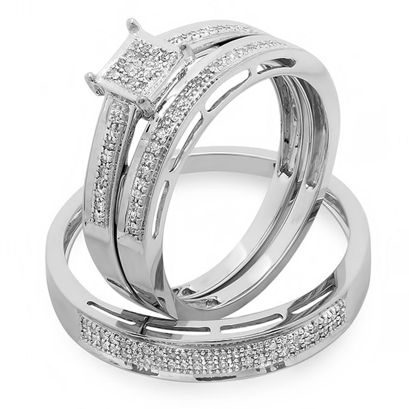 CERTIFIED   0.18 Carat (ctw) 18K Gold Round Diamond Ladies & Mens His Hers Bridal Engagement Ring Trio Set Band