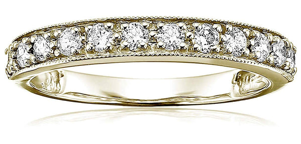 CERTIFIED 1/2 cttw Milgrain Diamond Wedding Band in 14K Gold