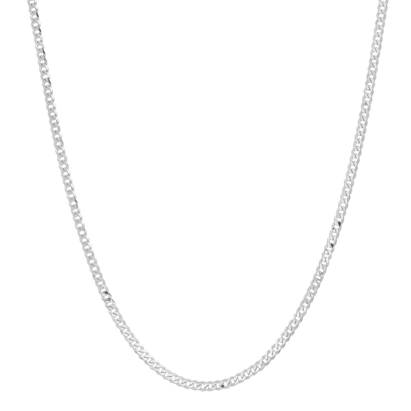 CERTIFIED 2mm 14K White Gold Concave Curb Classic Link Chain Necklace