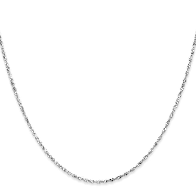 "CERTIFIED 14k White Gold 1.1mm Singapore Chain Necklace 14"" - 30"""