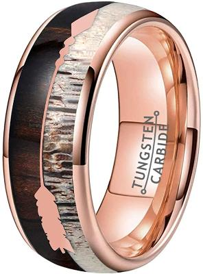 CERTIFIED 8mm Rose Gold Tungsten Wedding Bands Koa Wood Arrow Deer Antler Meteorite Inlay