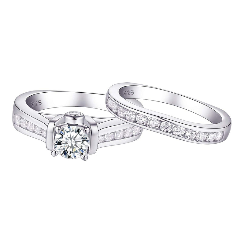 CERTIFIED 2.20 cttw Wedding Rings Engagement Set 925 Sterling Silver Round AAA Cz