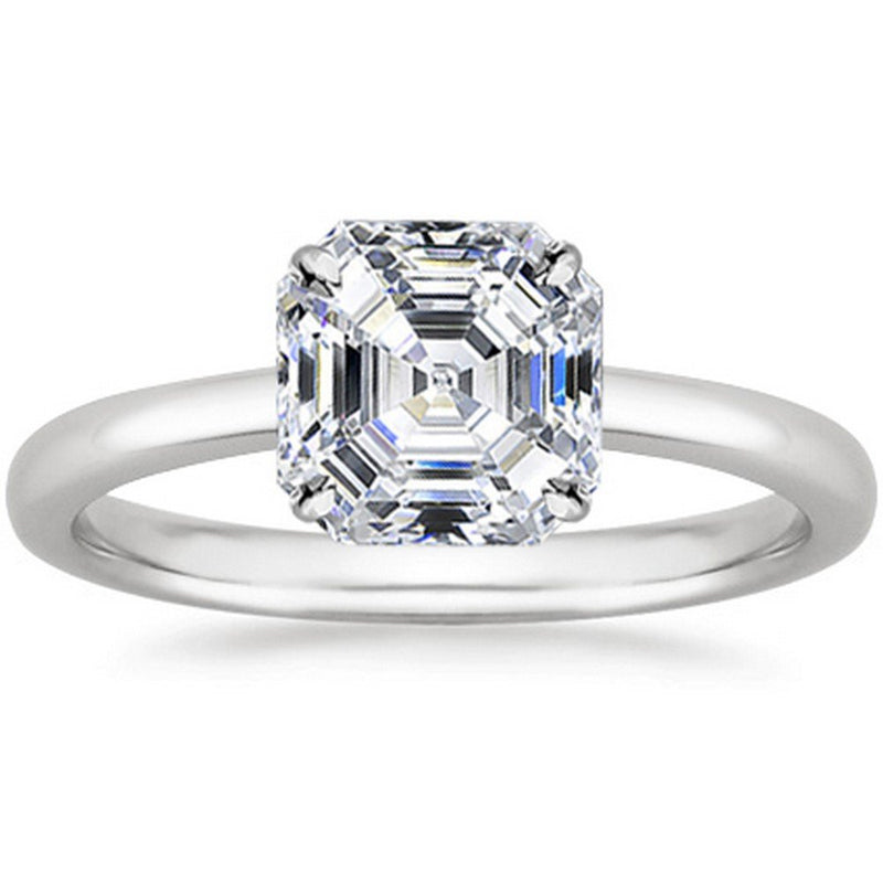 GIA |  1/2 Ct Certified Asscher Halo Solitaire Diamond Engagement 14K Gold (Flawless IF)