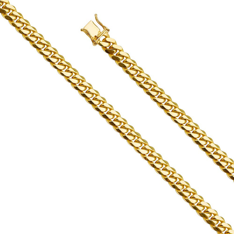 CERTIFIED Wellingsale 14k Yellow Gold SOLID 6.5mm Polished Miami Cuban Concaved Curb Chain Necklace