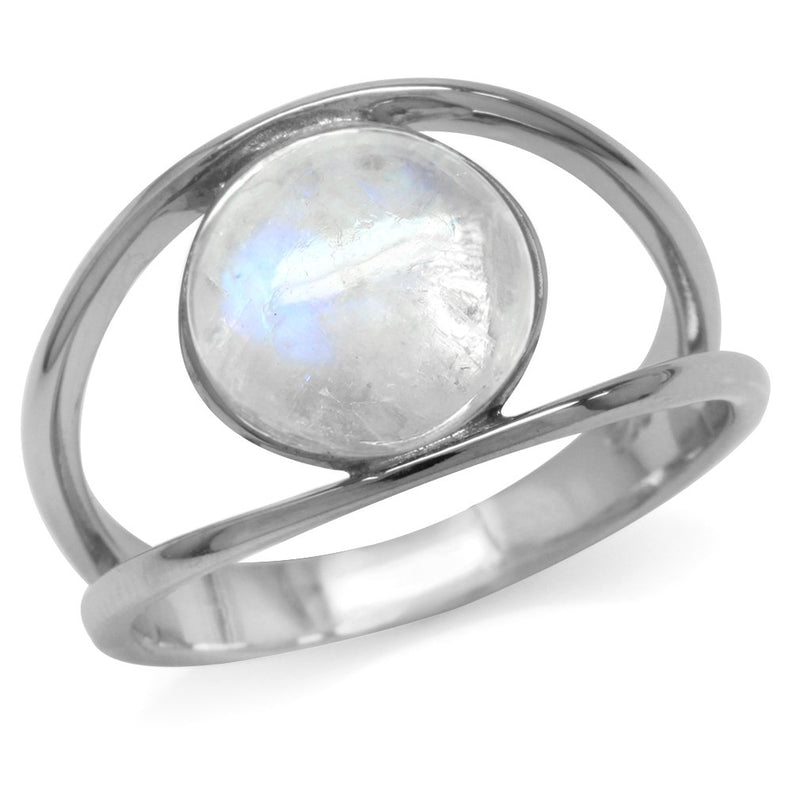 CERTIFIED Silvershake Natural Moonstone White Gold Plated 925 Sterling Silver Ring