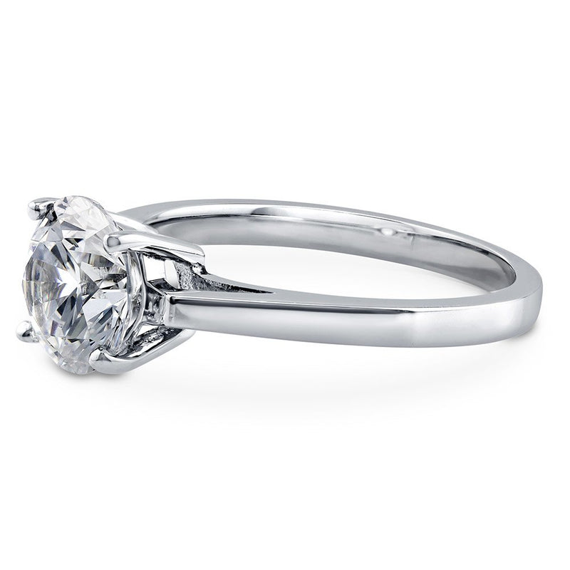 CERTIFIED 2 CTW Sterling Silver Round Cubic Zirconia CZ Solitaire Engagement Ring