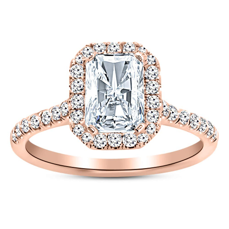 3.5 Ctw 14K White Gold Halo Radiant Cut GIA Certified Diamond Engagement Ring (3 Ct H Color SI2 Clarity Center Stone)