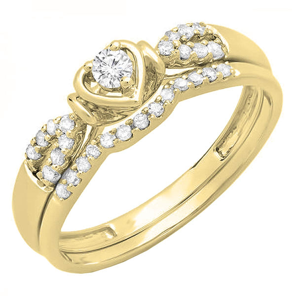 CERTIFIED   0.25 Carat (ctw) 10K Gold Diamond Ladies Heart Shaped Bridal Engagement Ring Band Set 1/4 CT