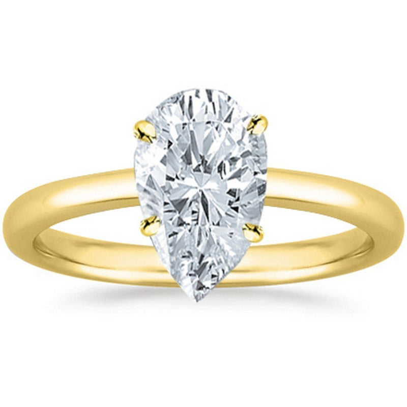 0.46 Ct GIA Certified Pear Cut Solitaire Diamond Engagement Ring 14K White Gold (H Color VS1 Clarity)