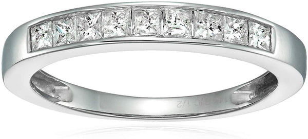 CERTIFIED 1/2 CT Princess Diamond Wedding Band in 14K Gold Channel