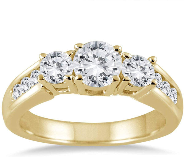 AGS Certified 1 1/2 Carat TW Diamond Three Stone Ring in 10K Yellow Gold