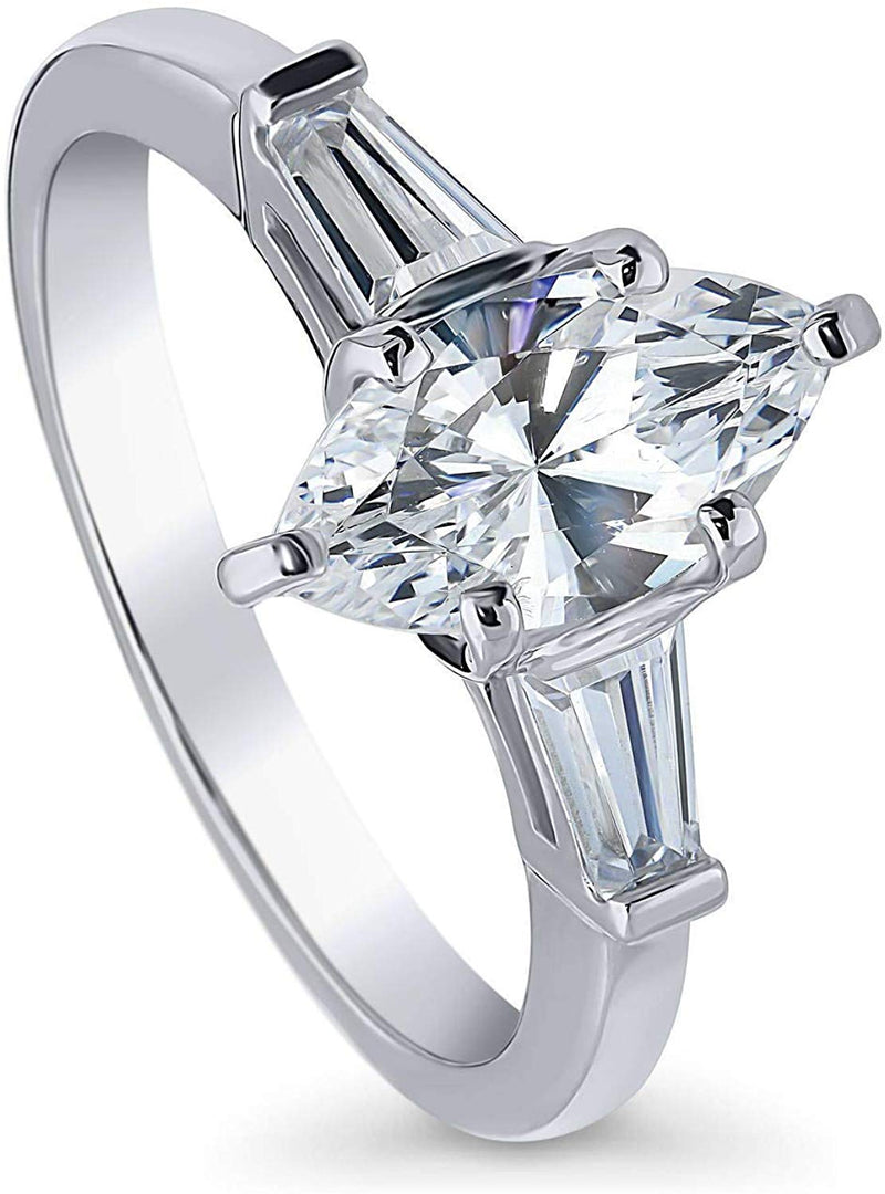 1.45 CTW Sterling Silver Marquise Cubic Zirconia CZ 3-Stone Engagement Ring