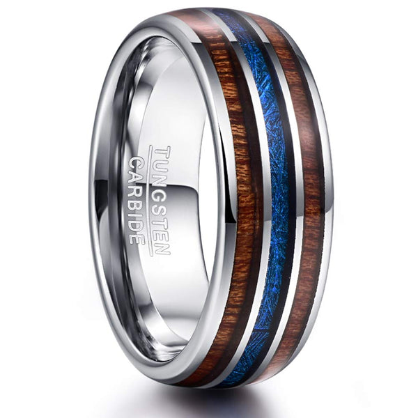 CERTIFIED 8mm Hawaiian Koa Wood Blue Imitated Meteorite Inlay Tungsten Band