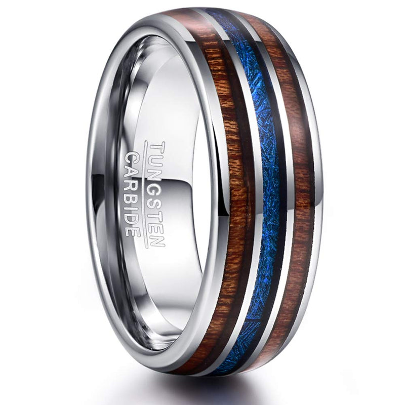CERTIFIED 8mm Hawaiian Koa Wood Blue Imitated Meteorite Inlay Tungsten Band.